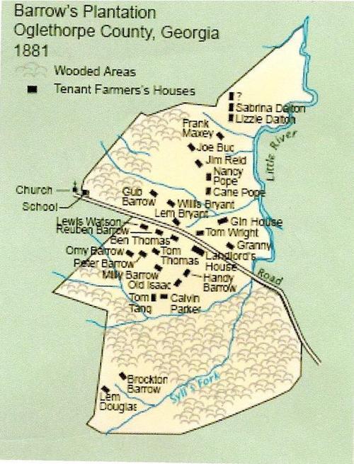 Map Of Georgia Plantations.Barrow S Plantation The Original Map